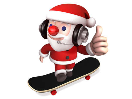 santa showing thumb up with the skateboard,3d
