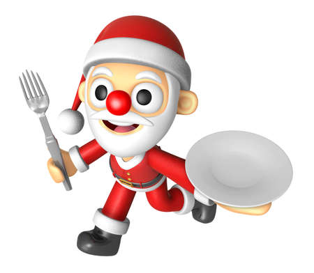 3D Santa Mascot hand is holding a Fork and Plate. 3D Christmas Character Design Series.