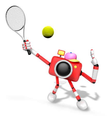 3D-rode camerakarakter is een krachtige tennisgame-speloefening. Creëer 3D Camera Robot Series. Stockfoto
