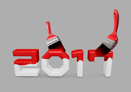 paintcan: lay on Paint brush with a 2017. New Year Typographic Arts Card.