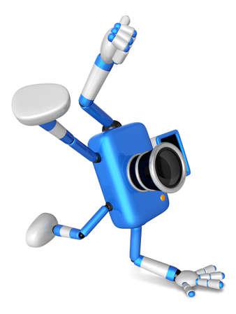 Blue Camera Character in Powerful camera to a photo shoot. Create 3D Camera Robot Series.