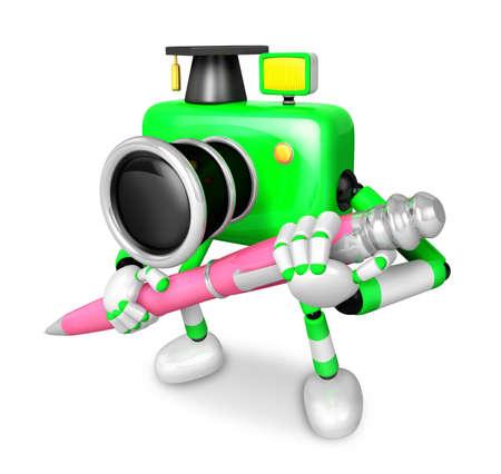 Green Camera Character ballpoint pen a handwriting. Create 3D Camera Robot Series. Stock Photo