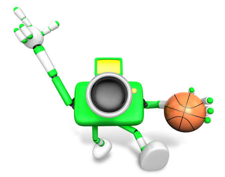 3D green camera character holding a basketball running. Create 3D Camera Robot Series Stock Photo