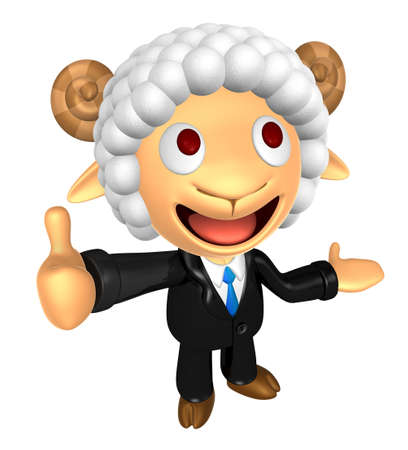 3D Business Sheep mascot the left hand guides and the right hand best gesture. 3D Animal Character Design Series.