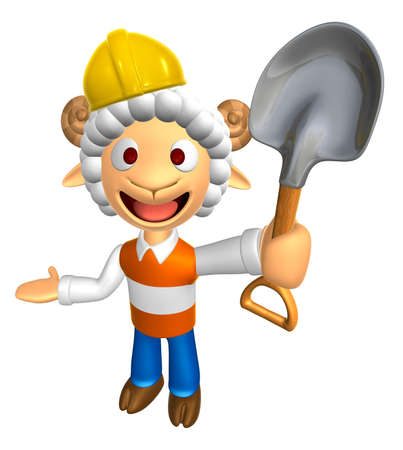 3D Construction site Sheep Mascot the left hand guides and the right hand is holding a shovel. 3D Animal Character Design Series. Stock Photo