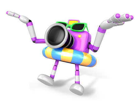 3D purple Camera Character jumping in rubber ring. Create 3D Camera Robot Series.