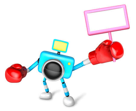 Sky Blue camera boxer right hand a holding board. Create 3D Camera Robot Series. Stock Photo