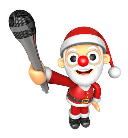 3D Santa character is holding a microphone. 3D Christmas Character Design Series.