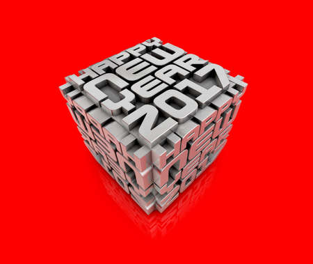 2017 Cubes of Red Paper. New Year Typographic Arts Card.