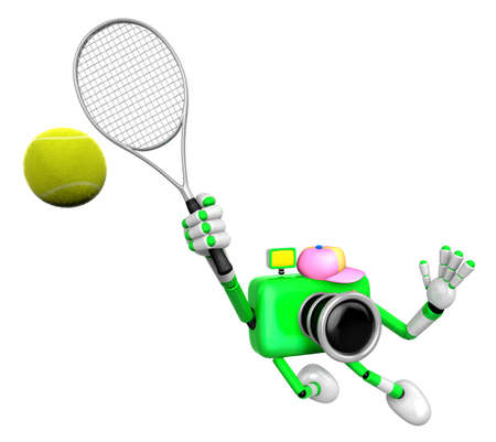 3D Green Camera character is a powerful tennis game play exercises. Create 3D Camera Robot Series. Stock Photo