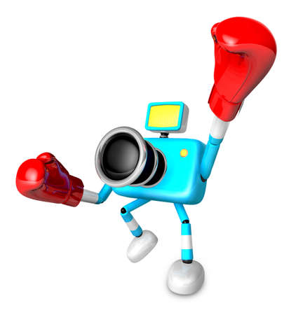 A cyan Camera Character and a boxing play. Create 3D Camera Robot Series. Stock Photo