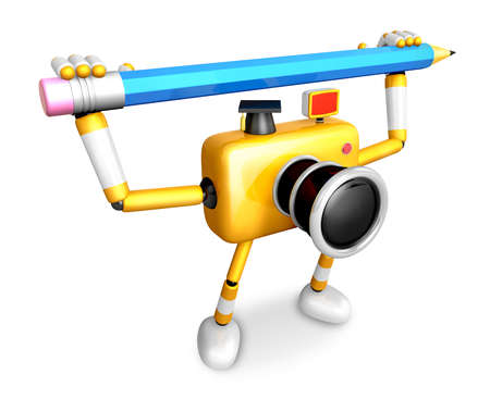 Yellow camera with both hands holding a large pencil. Create 3D Camera Robot Series. Stock Photo