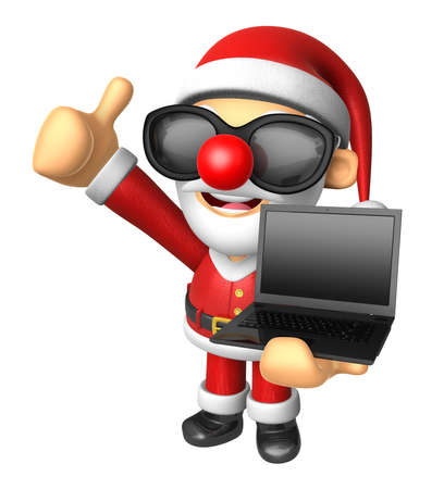Wear sunglasses 3D Santa Mascot the left hand best gesture and right hand is holding a laptop. 3D Christmas Character Design Series.