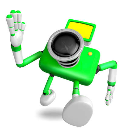 Rushing toward the left side of the Green Camera Character. Create 3D Camera Robot Serie.