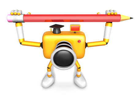 fidelidad: Yellow camera character with both hands holding a large pencil. Create 3D Camera Robot Series. Foto de archivo