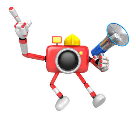 The left hand point the finger Engineer Red Camera Character. The right hand is holding a Loudspeaker. Create 3D Camera Robot Series.