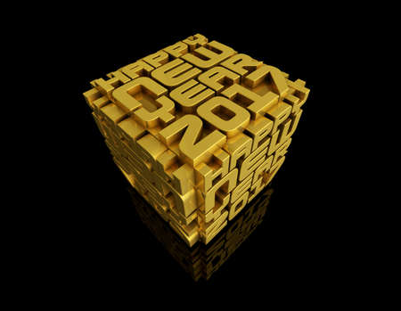 Gold Cubic Art Image in 2017 Year. New Year Typographic Arts Card.