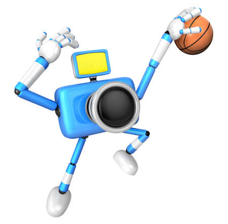 Blue Camera Characte playing a dunk shot. Create 3D Camera Robot Series. Stock Photo