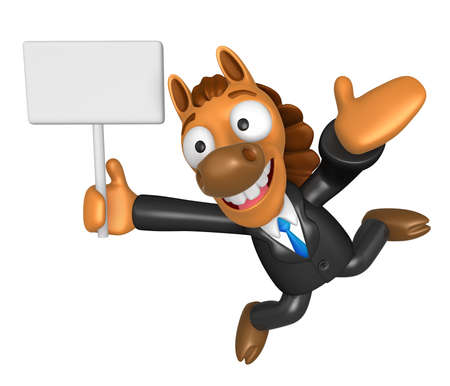 newyear: 3D Horse mascot the left hand guides and the right hand is holding a picket. 3D Animal Character Design Series. Stock Photo