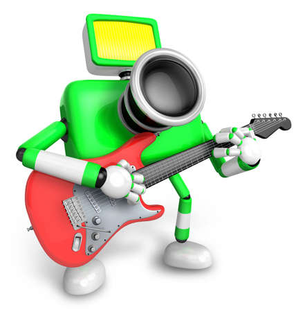 To the Right toward the Green Camera Character playing the guitar. Create 3D Camera Robot Series.