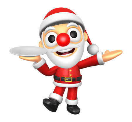3D Santa mascot the right hand guides and the left hand is holding a plate. 3D Christmas Character Design Series. Stock Photo