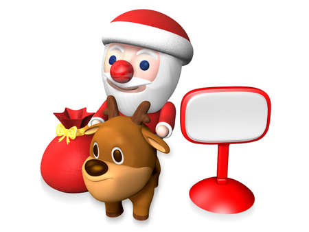 rudolph riding santa and the signboard,3d Stock Photo
