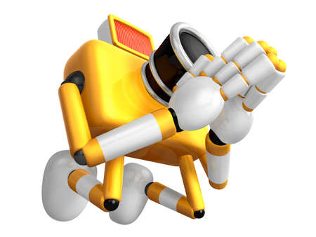 Yellow Camera Character kneel in prayer. Create 3D Camera Robot Series. Stock Photo