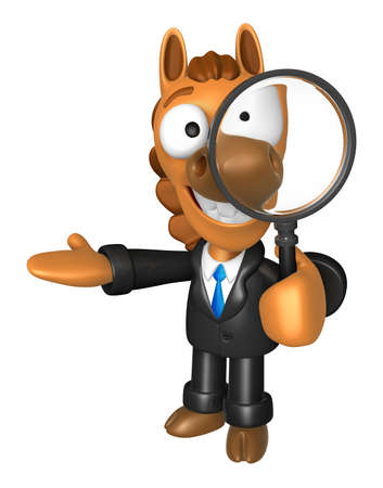 3D Horse mascot look through a magnifying glass. 3D Animal Character Design Series. Stock Photo