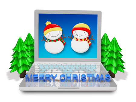 3d silver laptop with snowmen and trees Stock Photo