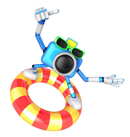 3d Sky Blue Camera character surfing on lifebuoy. Create 3D Camera Robot Series. Stock Photo
