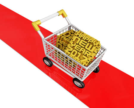 shoppingtrolley: 2017 Cubes Trolley of red carpet. New Year Typographic Arts Card.