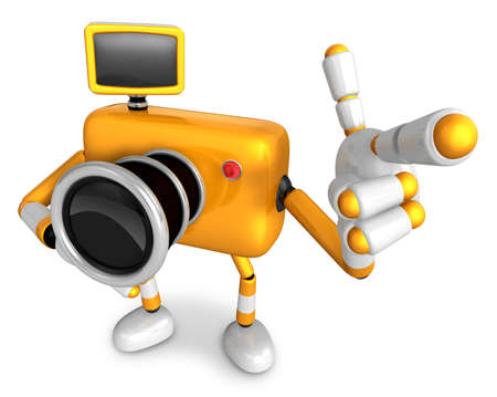 fidelidad: To the left toward the Yellow Camera Character guitar point the finger. Create 3D Camera Robot Series.