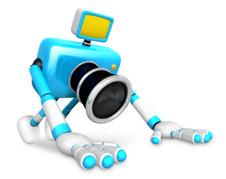 The Cyan Camera Character is push-up. Create 3D Camera Robot Series.