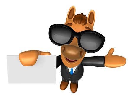 publicize: Wear sunglasses 3D Horse mascot the left hand guides and the right hand is holding a business cards. 3D Animal Character Design Series.