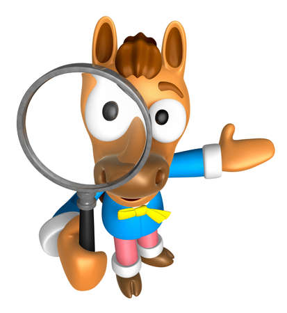quartet: 3D Horse mascot look through a magnifying glass. 3D Animal Character Design Series. Stock Photo