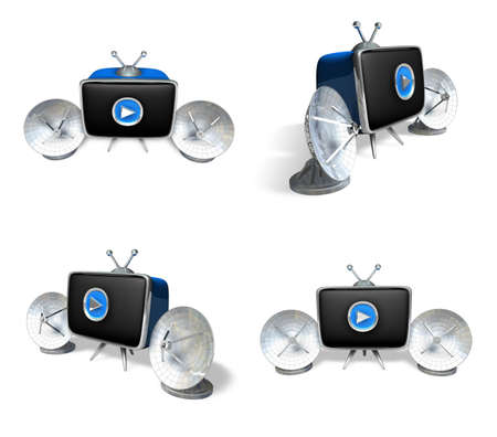 3D Satellite antenna and the TV icon. 3D Icon Design Series.