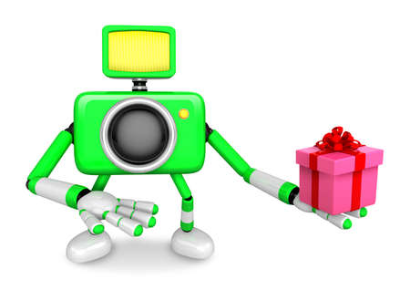 3D Green Camera character holding a gift. Create 3D Camera Robot Series. Stock Photo