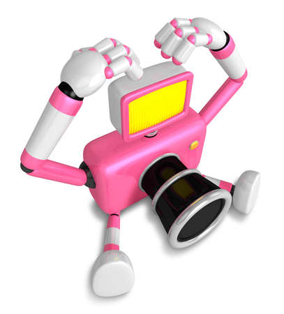 Pink Camera Character gesture of love in To the left toward. Create 3D Camera Robot Series. Stock Photo