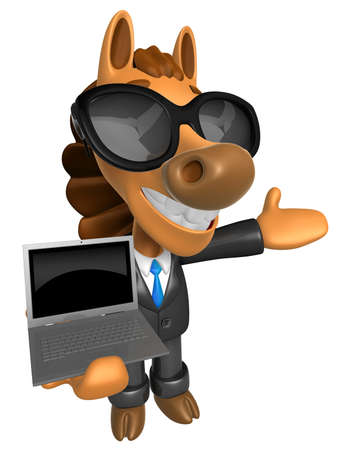 Wear sunglasses 3D Horse Mascot the left hand guides and right hand is holding a laptop. 3D Animal Character Design Series.