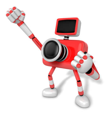Raise your fist sailing through the sky red camera. pledged to win. Create 3D Camera Robot Series.