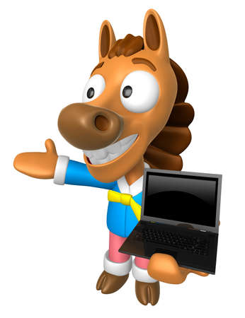 quartet: 3D Horse Mascot the left hand guides and right hand is holding a laptop. 3D Animal Character Design Series.