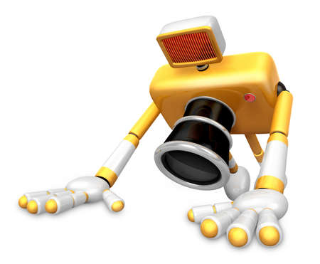 The Yellow Camera Character is push-up. Create 3D Camera Robot Series. Stock Photo