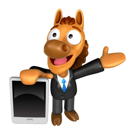 quartet: 3D Horse mascot the left hand guides and the right hand is holding a tablet PC. 3D Animal Character Design Series.
