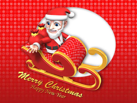 3d santa flying sky with his christmas sled Stock Photo