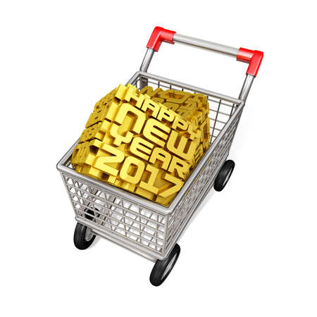 shoppingtrolley: 2017 Cubic and Trolley. New Year Typographic Arts Card. Stock Photo