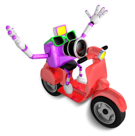 3D Purple camera character the right motorbike driving. Create 3D Camera Robot Series.