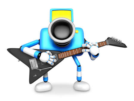 To the front toward the blue Camera Character playing the guitar. Create 3D Camera Robot Series.