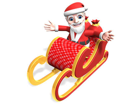 3d santa taking his christmas sled with open-arms Stock Photo