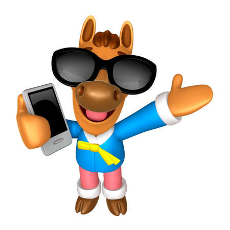 Wear sunglasses 3D Horse mascot the right hand guides and the left hand is holding a Smart Phone. 3D Animal Character Design Series. Stock Photo
