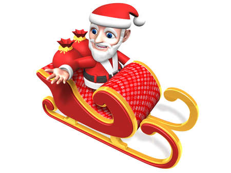 3d santa looking down on the christmas sled